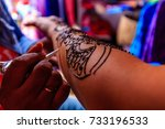 henna is a dye prepared from... | Shutterstock . vector #733196533