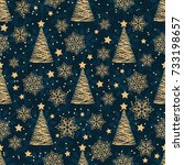snowflakes seamless pattern for ... | Shutterstock .eps vector #733198657