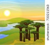vector landscape. africa. green ... | Shutterstock .eps vector #733211563