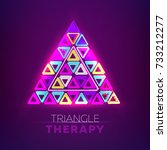 glowing triangles. fluorescent... | Shutterstock .eps vector #733212277