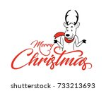 merry christmas typography with ... | Shutterstock .eps vector #733213693