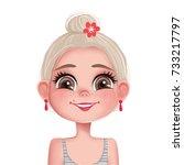 cute girl illustration.... | Shutterstock . vector #733217797