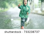 cheerful little girl walks and... | Shutterstock . vector #733238737