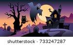 halloween background ... | Shutterstock .eps vector #733247287