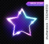 abstract neon star on dark blue ... | Shutterstock .eps vector #733248553