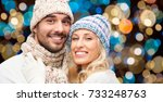 christmas  holidays and people... | Shutterstock . vector #733248763