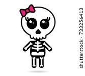 cute kawaii girl skeleton... | Shutterstock .eps vector #733256413