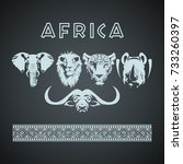 african big five animals and... | Shutterstock .eps vector #733260397