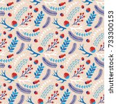 christmas seamless pattern with ...   Shutterstock .eps vector #733300153