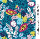 seamless pattern with... | Shutterstock .eps vector #733309267