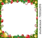 christmas tree decorated frame... | Shutterstock .eps vector #733316593