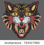 tiger embroidery   Shutterstock .eps vector #733317583
