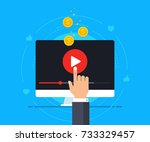 video monetization concept.... | Shutterstock .eps vector #733329457