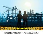 engineers inspecting site... | Shutterstock .eps vector #733369627