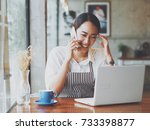 asian business woman working in ... | Shutterstock . vector #733398877
