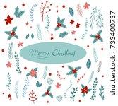 christmas flowers element set.... | Shutterstock .eps vector #733400737