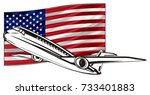 black plane and colored usa flag | Shutterstock . vector #733401883