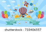 happy children's day poster... | Shutterstock .eps vector #733406557