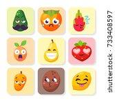 cartoon emotions fruit... | Shutterstock .eps vector #733408597