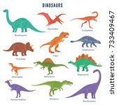 set of dinosaurs including t... | Shutterstock .eps vector #733409467