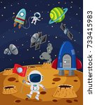 space scene with astronauts and ... | Shutterstock .eps vector #733415983