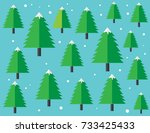 snowing with christmas trees in ... | Shutterstock .eps vector #733425433