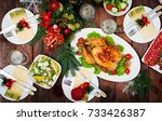baked turkey or chicken. the... | Shutterstock . vector #733426387