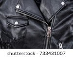 black leather punk jacket... | Shutterstock . vector #733431007