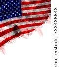 grunge colorful flag america... | Shutterstock . vector #733438843