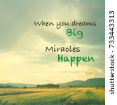 Small photo of Inspiration quote (When you dream big, Miracles happen) on vintage photo of rainbow over the field