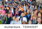 crowd of people on the street.... | Shutterstock . vector #733443337