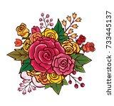 flower bouquet vector... | Shutterstock .eps vector #733445137