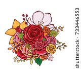 flower bouquet vector... | Shutterstock .eps vector #733446553