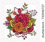 flower bouquet vector...   Shutterstock .eps vector #733446727