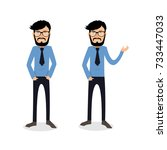 funny and cool cartoon guy in... | Shutterstock .eps vector #733447033