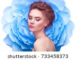 beautiful woman on the... | Shutterstock . vector #733458373