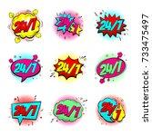 set of color comic speech...   Shutterstock .eps vector #733475497