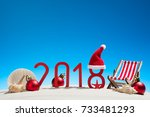 tropical christmas and 2018 new ... | Shutterstock . vector #733481293
