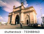 gateway of india in mumbai ... | Shutterstock . vector #733488463