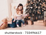 young mother sitting with baby... | Shutterstock . vector #733496617