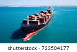 large container ship at sea  ... | Shutterstock . vector #733504177