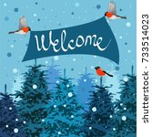 winter forest and bullfinches | Shutterstock .eps vector #733514023