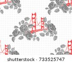 seamless paris pattern with... | Shutterstock .eps vector #733525747