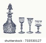 antique crystal decanter and... | Shutterstock .eps vector #733530127