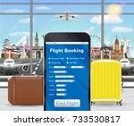 smartphone online flight... | Shutterstock .eps vector #733530817