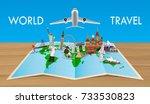 landmark on world map with... | Shutterstock .eps vector #733530823