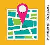 location map flat design vector ... | Shutterstock .eps vector #733533253