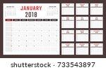 calendar for 2018 starts sunday | Shutterstock .eps vector #733543897