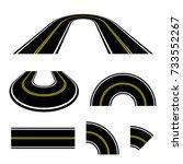 perspective road turn vector   Shutterstock .eps vector #733552267