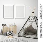 mock up poster frames in... | Shutterstock . vector #733561897